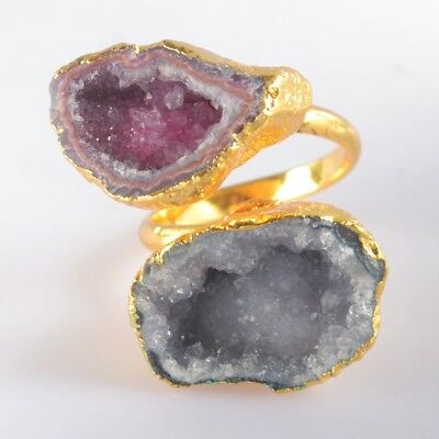 Size 7 Hot Pink & Blue Agate Druzy Cave Adjustable Ring Gold Plated T047086