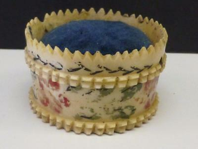 Antique Painted Pin Cushion Carved Bone Victorian