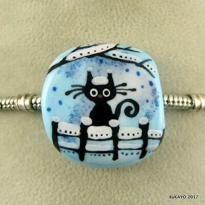 WAITING ON A FRIEND byKAYO handmade lampwork glass charm BRACELET bead SRA
