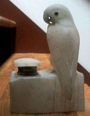"Art Deco Carved Alabaster Figural Exotic Parrot Inkwell Pen Holder 7"" Made Italy"