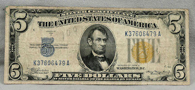 1934-A North Africa Yellow Seal $5 Silver Certificate! NO RESERVE!