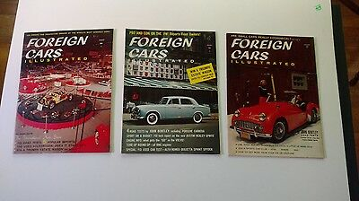 Lot of 3 vintage magazines FOREIGN CARS ILLUSTRATED 1958-1959 Nice lot!