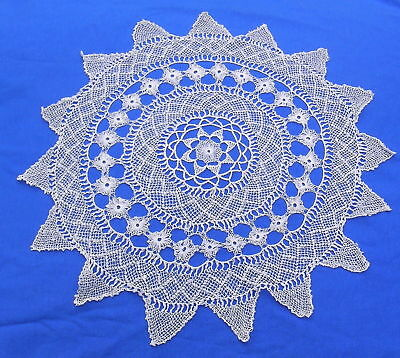 Unusual Antique  Armenian Needle Knotted Lace Doily   13""