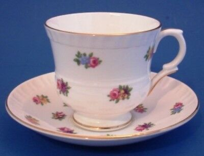 Crown Staffordshire Bone China Cup & Saucer Multi Color Flowers