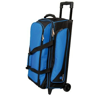 Ebonite Transport 3 Ball Roller Bowling Bag with Retractable Handle Color Blue