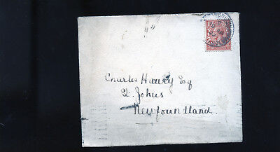 1927 Great Britain Cover to St.John's Newfoundland three halfpence BL1313