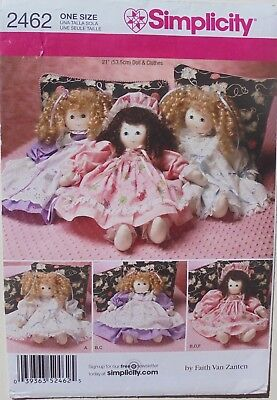 """Simplicity 2462 Stuffed 21"""" Dolls & Clothes Sewing Pattern"""