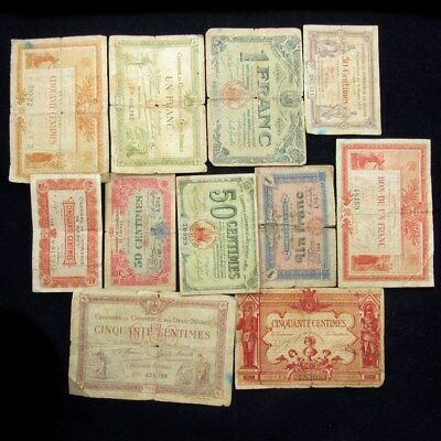 Lot of French WWI Era Notegeld (11 Pieces) - 1 Franc & 50 Centimes
