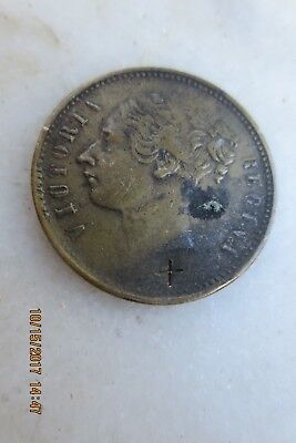 Cc 1850's Victoria Regina Game Token With 3 Playing Cards