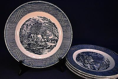 "Currier & Ives The Old Grist Mill 10"" Dinner Plates -Excellent- Lot Of 4"