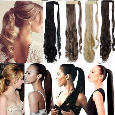 Women Ponytail Clip in Hair Extensions Long Thick Real Synthetic 100% Natural AU