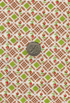 Vintage Feedsack Fabric Chic Pink Rose Bud, Quilt, Craft, Sewing