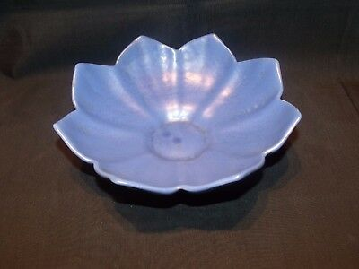 "8"" Antique Camark Pottery Bowl Arts Crafts Mission Matte Blue Sunflower Bowl !"