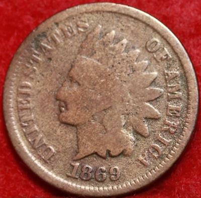 1869 Philadelphia Mint Copper Indian Head Cent Free Shipping