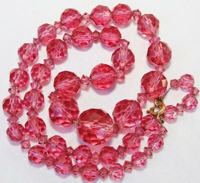 Lovely Vtg Art Deco Graduated  Pink Glass Bead Necklace!! Qu72