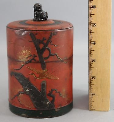 Antique Japanese Hand Painted Red Lacquer, Foo Dog, Tin Tea Caddy, No Reserve!