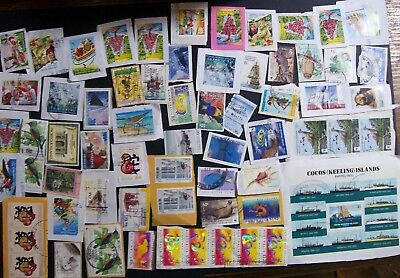 Christmas Island kiloware - 103 x stamps, many modern, some AAT, Cocos (15L)