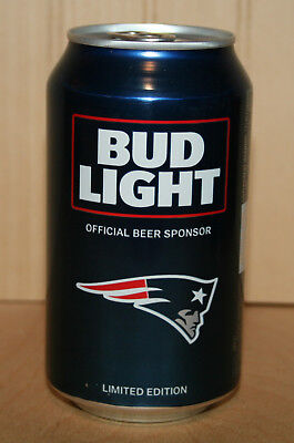 BUD LIGHT NFL Beer Can NEW ENGLAND PATRIOTS 2017 Kickoff Bottom Opened Empty
