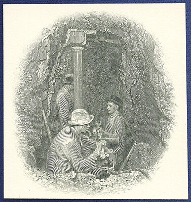 AMERICAN BANK NOTE Co. ENGRAVING: 3 MINERS IN SHAFT