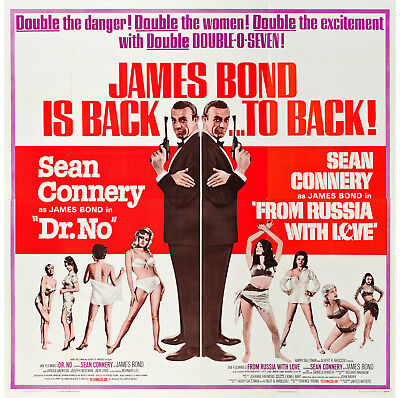DR. NO/FROM RUSSIA WITH LOVE original large 6-sheet movie poster JAMES BOND