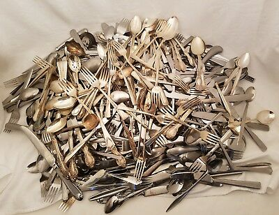 400+ Pieces Of Silverplate, Stainless, Flatware Mixed Lot For Craft Use