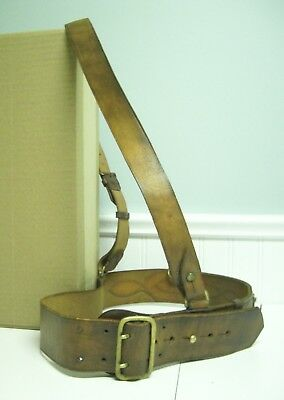 Antique Sam Browne Military Belt Possibly WWI or WWII Size 36 Leather & Brass