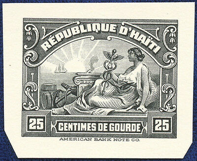 AMERICAN BANK NOTE Co. ENGRAVING: HAITI 25¢