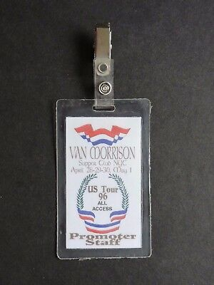 1996 Van Morrison Laminated Backstage Pass All Access ! Us Tour Supper Club Ny !