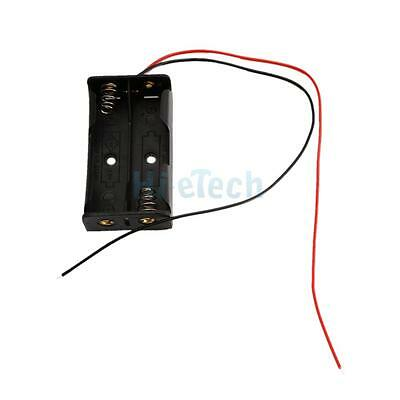 "1PCS New 2 AA 2A 3V Battery Clip Holder Box Case with 7"" Leads Wire Black"