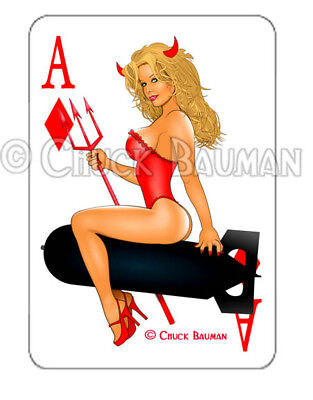 Bomber Girl VIXEN VICKY pinup playing card decal pin-up babe sticker NUDE