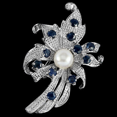 Impressive Genuine Aaa White Pearl & Blue Sapphire Sterling 925 Silver Brooch