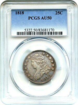 1818 25c PCGS AU50 - Choice Type Coin - Bust Quarter - Choice Type Coin