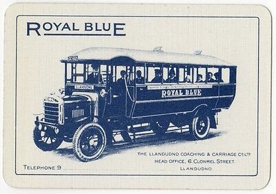 Playing Cards 1 Swap Card - Antique Wide ROYAL BLUE COACHING CARRIAGE Coach Bus