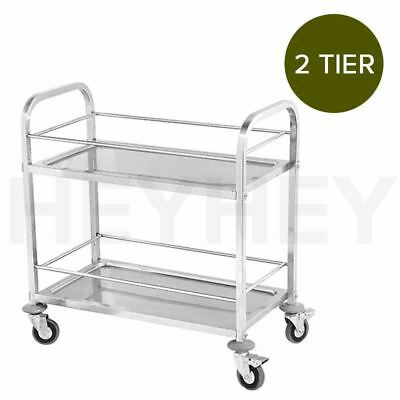 Commercial Kitchen Stainless Steel Drink Wine Food Utility Cart 2 Tier 85*45*90
