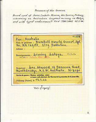 Australia. Enquiry form for Missing Aus. Solder in Malaya