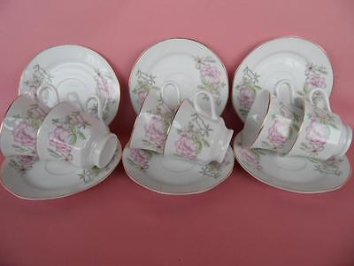 set of 6 pretty pink floral porcelain gold trim espresso coffee cups & saucers