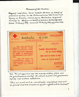 Australia related. P.O.W.  Inquiry Card  for Missing Australian Soldier in Malay