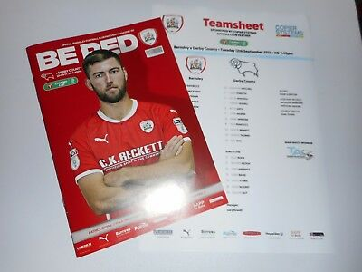 BARNSLEY  v  DERBY COUNTY  2017/18  CARABAO CUP ( F.L.CUP )  + T/SHEET *SOLD OUT