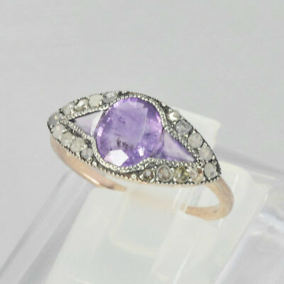Nice Charming Gold Filled 925 Silver Natural Amethyst & Diamond Ring
