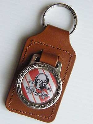 THE CAMERONIANS MILITARY ARMY BADGE LEATHER KEYRING KEY FOB GIFT