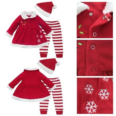 My First Christmas Tree Santa Jumpsuit Boys Girls Tutu Dress Outfit Baby Clothes