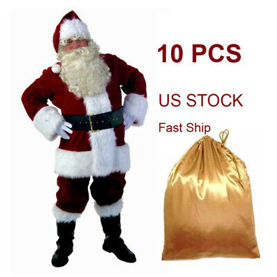 US STOCK Santa Claus Christmas Xmas Cosplay Costume A Full Set Red Party Dress
