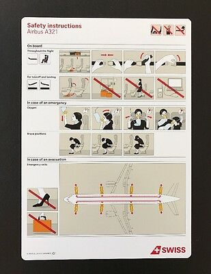 SWISS LX Swissair Airbus 321 A321 Safety Card Sicherheitskarte