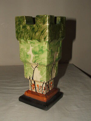 Myott Art Deco Castle Shaped Abstract Trees Design Vase  Truly Stunning