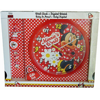 MINNIE MOUSE Set Juego Reloj Pared + Reloj Pulsera Infantil Decoración Regalo