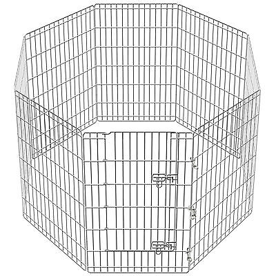 Faulty 8 Side 3ft Pet Play Pen Dog Puppy Cage Folding Run Metal Crate In/Out
