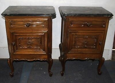 Pair of French marble bedside cabinets tables 1895