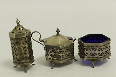 Hallmarked Antique Sterling Silver Pepper Pot-Salt Cellar-Mustard Pot (Ms10)
