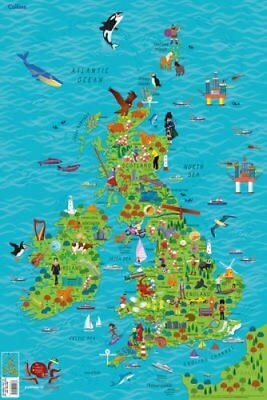 Children's Wall Map of the United Kingdom and Ireland by Collins Maps (Sheet...