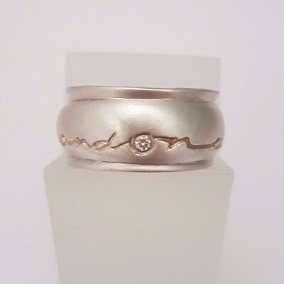 DIANA PORTER Silver 'on and on' barrel ring with diamond and gold etch
